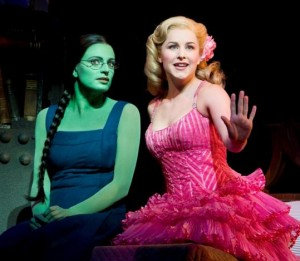 "Jackie Burns as Elphaba, the Wicked Witch, and Chandra Lee Schwartz as Galinda, in ""Wicked,'' at the Boston Opera House"