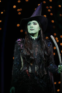 Vicki Noon as Elphaba in Wicked