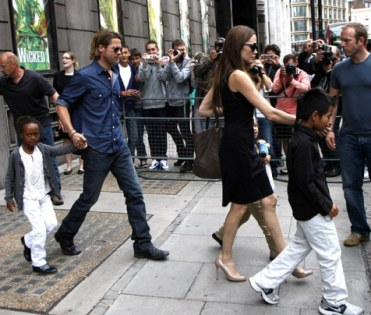 Fans click their Cameras to catch Brad and Angelina with Kids