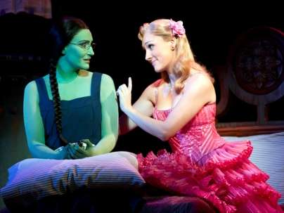 Anne Brummel (left) as Elphaba and Tiffany Haas as Glinda in Wicked Musical at the Times-Union Center's Moran Theater